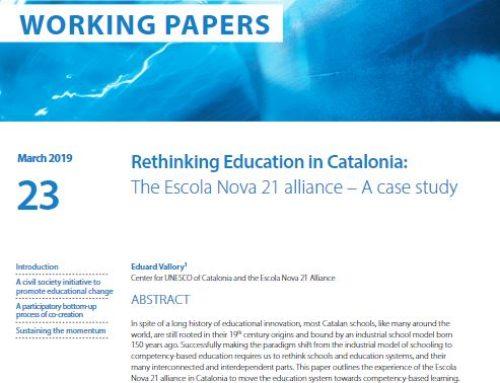 La col·lecció de recerca i prospectiva educativa de la UNESCO publica com a cas d'estudi l'Aliança Escola Nova 21 per un sistema educatiu avançat